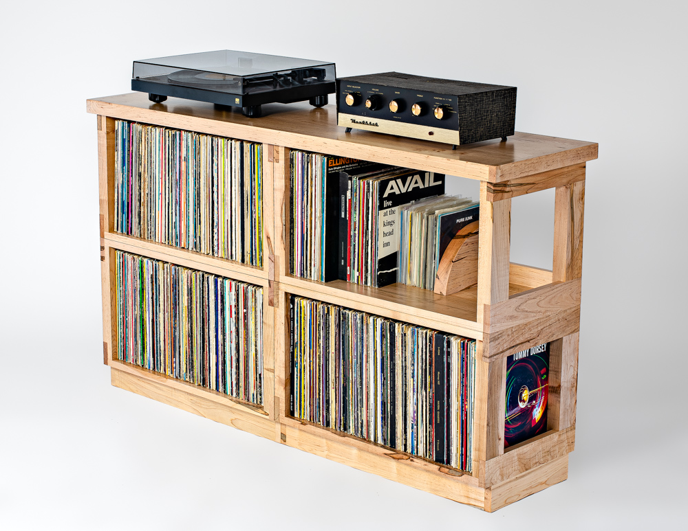 DOUBLE WIDE MAPLE RECORD SHELF : NEW!