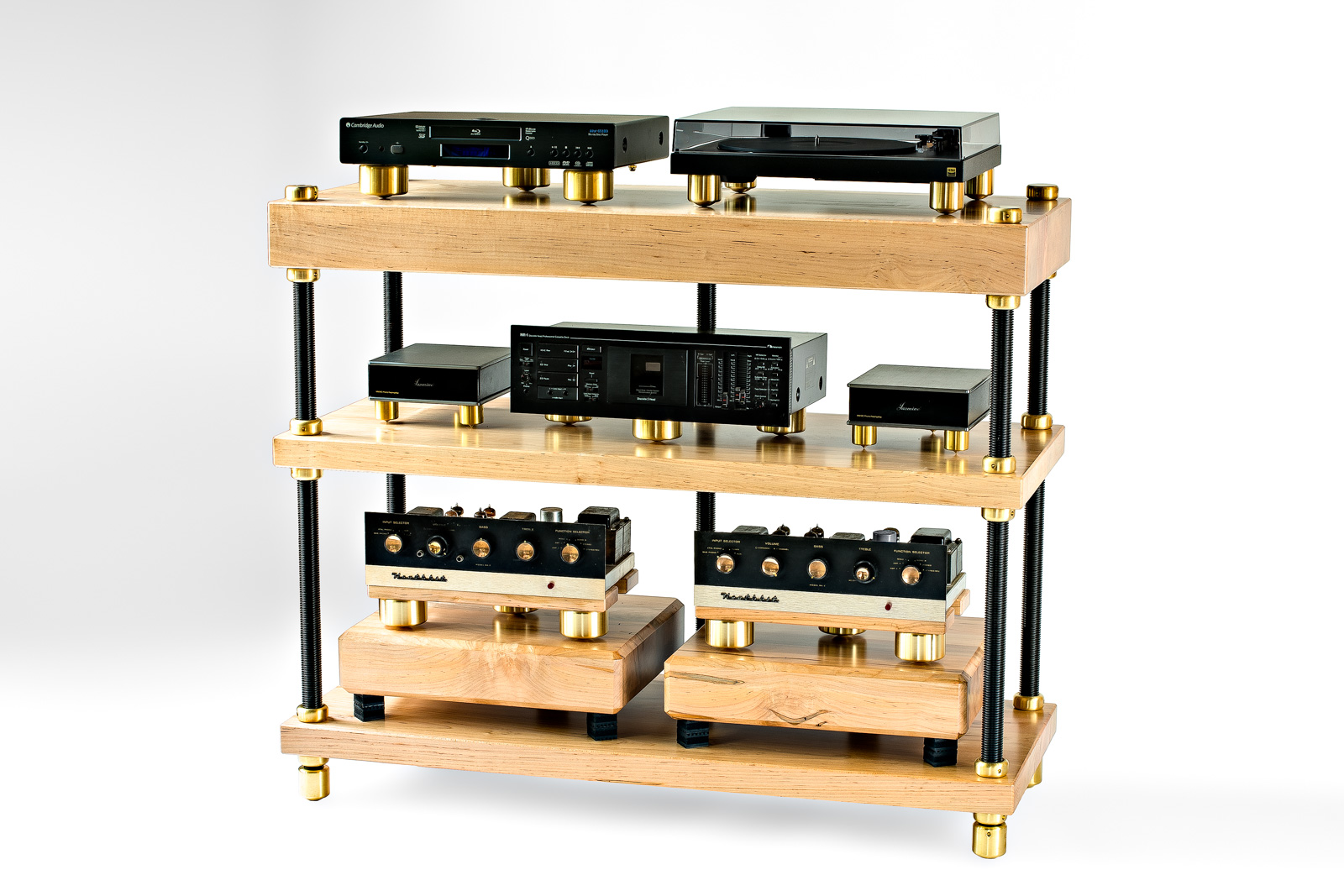 SAMSON V.5 Audio Racks : with solid 2 inch & 4 inch air-dried Ambrosia maple shelves